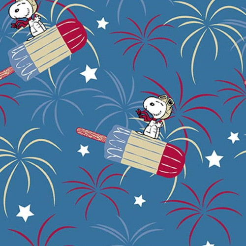 SNOOPY PATRIOTIC POPSICLE FABRIC - 69568-1600715 Blue - Patriotic Peanuts - Springs Creative