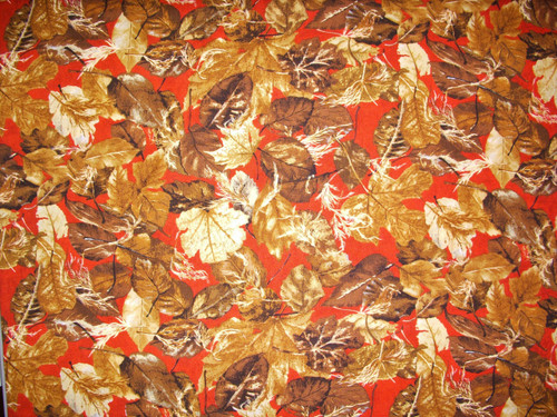 ASSORTED BROWN LEAVES ON RED - TRO 1527-1 Lone Prairie - Riverwoods Collection