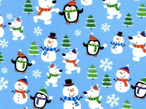 ASSORTED SNOWMEN, PENGUINS, DOGS, ETC ON LIGHT BLUE - BD-49693-A01
