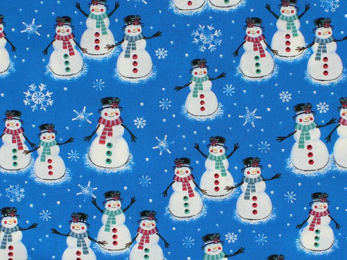 ASSORTED SNOWMEN, WOMEN AND FAMILIES ON BLUE - BD-49805-A02