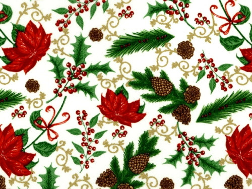 PINE BOUGHS, POINSETTIAS AND HOLLY ON OFF WHITE - BD-49684-M01