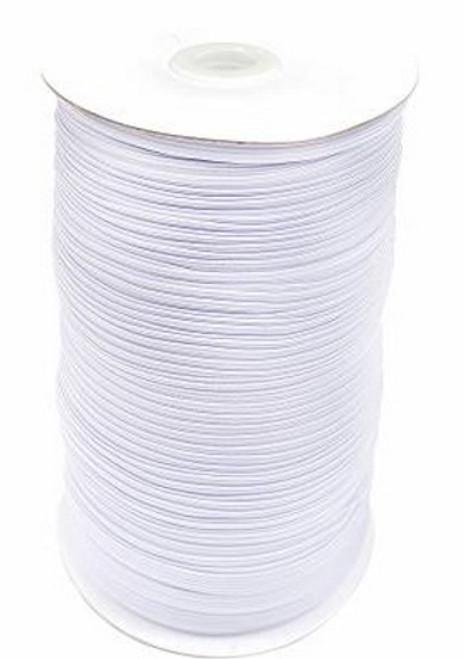 White Flat Elastic 1/8 inch **by the yard** - TGQ048