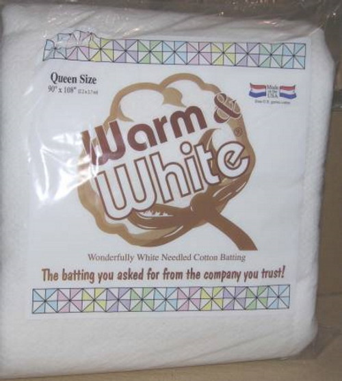 WARM AND WHITE COTTON BATTING - QUEEN SIZE - W2442WN