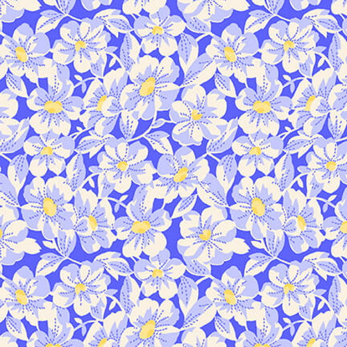 "WHITE FLOWERS (APPROX 1"") WITH YELLOW CENTERS ON BLUE FABRIC - 9295-11"