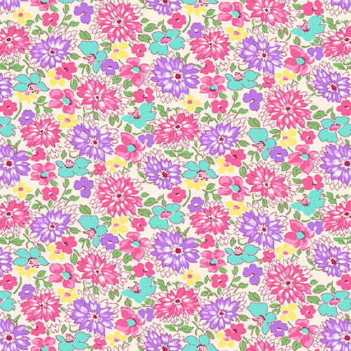 "ASSORTED PASTEL COLORED FLOWERS (APPROX 1"") ON WHITE FABRIC - 9296-25"