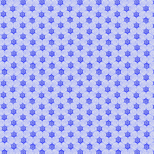 LIGHT AND DARK BLUE HEXAGON DESIGNS ON WHITE FABRIC - 9298-11