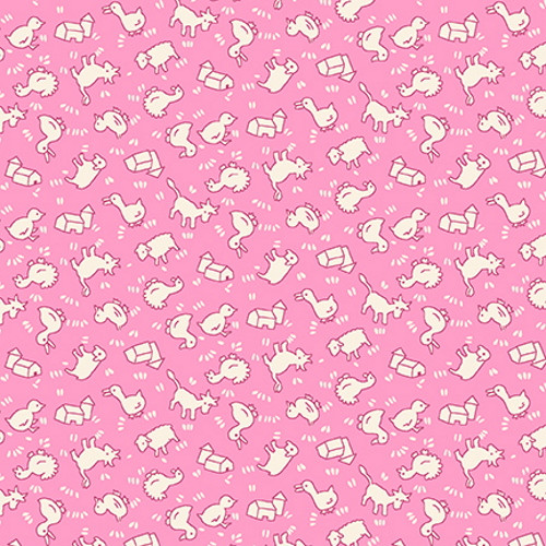 TOSSED SMALL WHITE FARM ANIMALS AND BARNS ON PINK FABRIC - 9299-22