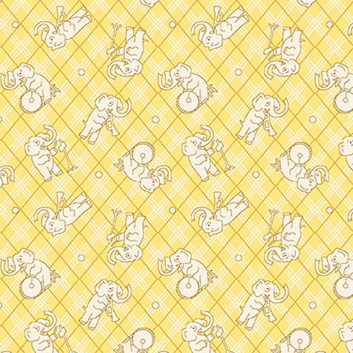 WHITE ELEPHANTS ON YELLOW AND WHITE CROSSHATCH FABRIC - 9294-44