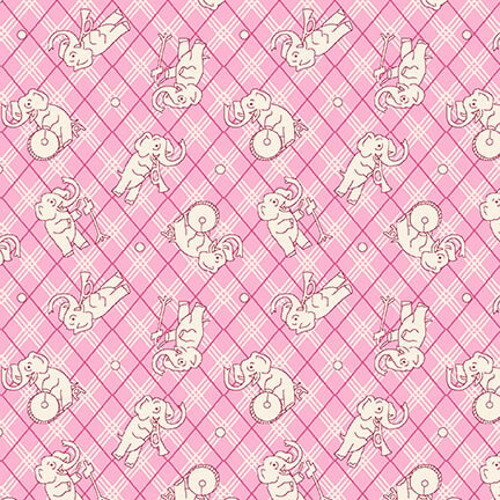 WHITE ELEPHANTS ON PINK AND WHITE CROSSHATCH FABRIC - 9294-22