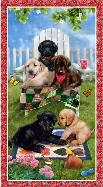 "PUPPIES IN THE YARD - 24"" Banner Panel - 9341P-88"