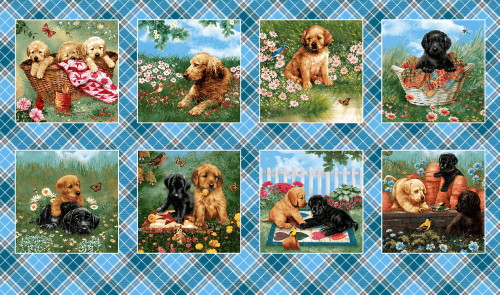 "8 SCENE PUPPY PANEL - 24"" Repeat Panel - 9340-17"