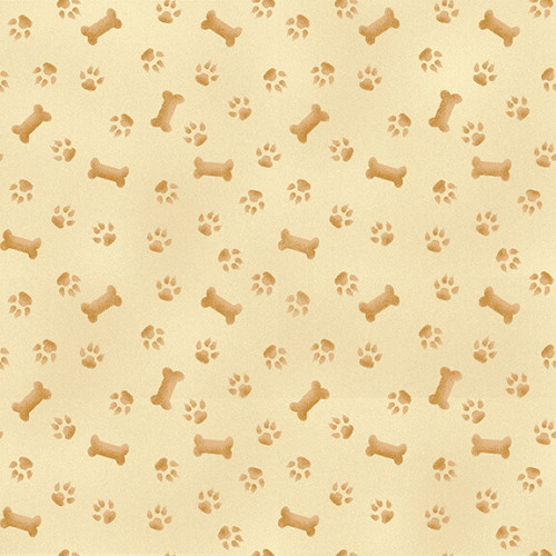 BROWN PAWS AND BONES ON CREAM FABRIC - 9339-44