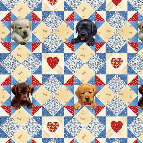 PUPPY, BONES AND HEARTS SCENIC FABRIC - 9338-17