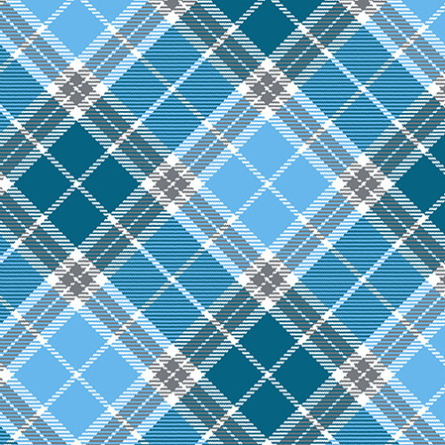 CYAN, GRAY AND WHITE PLAID PRINT FABRIC - 9334-17