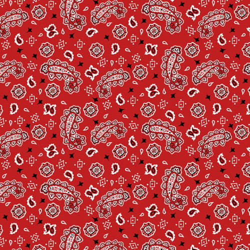 RED, BLACK AND WHITE BANDANA FABRIC - 9333-88