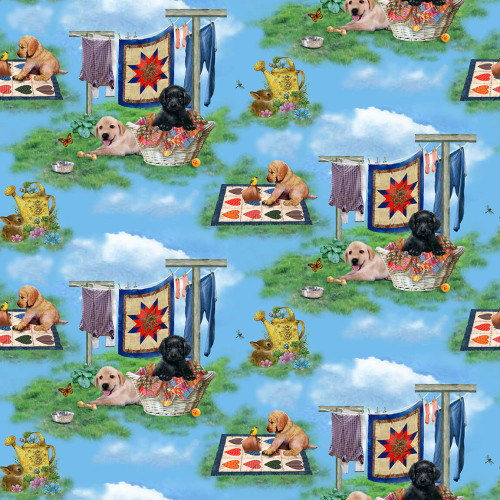 PUPPIES IN VARIOUS GARDEN SCENES WITH QUILTS FABRIC - 9332-17