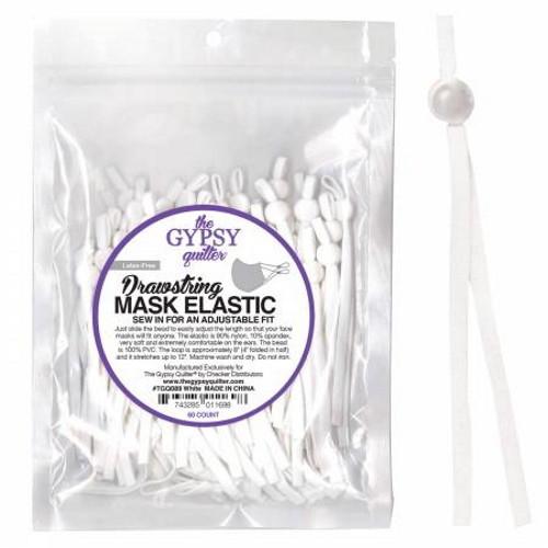 DRAWSTRING MASK ELASTIC - 60 COUNT - TGQ0089 White