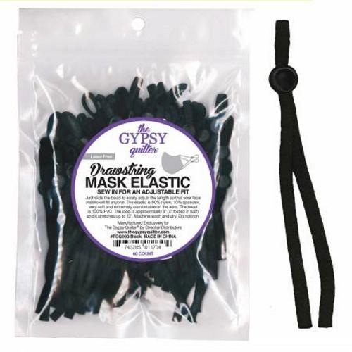 DRAWSTRING MASK ELASTIC - 60 COUNT - TGQ0090 Black