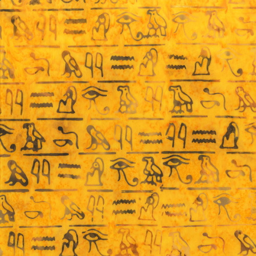 EGYPTIAN HIEROPLYPHIC SYMBOLS PRINT BATIK FABRIC - 9041Q-2