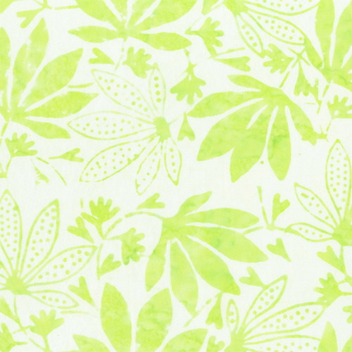 MINT GREEN MAPLE LEAVES PRINT BATIK FABRIC - 2166Q-X