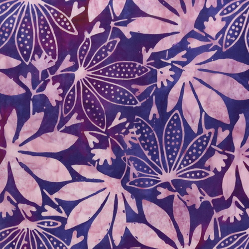 PURPLE DOTTED MAPLE LEAVES PRINT BATIK FABRIC - 2162Q-X