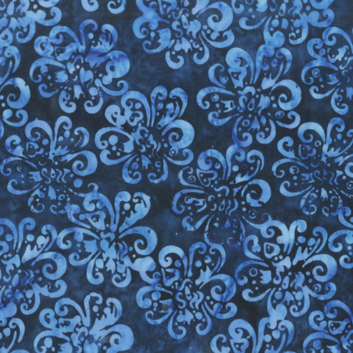 NAVY DOTTED BUDS PRINT BATIK FABRIC - 2157Q-X