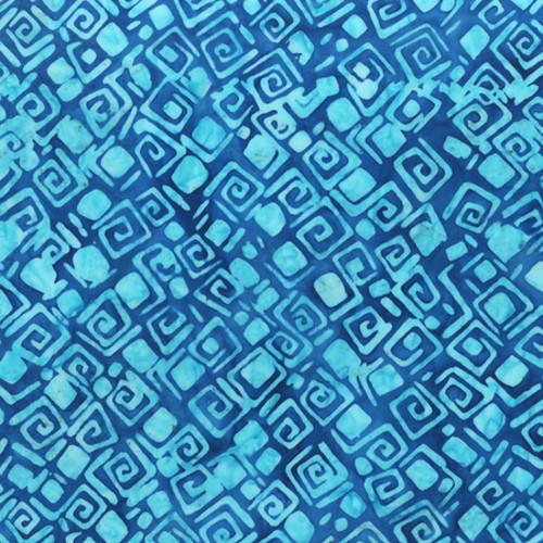 BLUE GEO PRINT BATIK FABRIC - 2158Q-X
