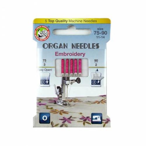 Organ Needles Embroidery Assortment (3ea 75, 2ea 90) Eco Pack - 3000122