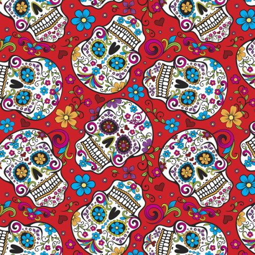 RED FOLKLORIC SKULLS FABRIC - DT-2888-2C-1