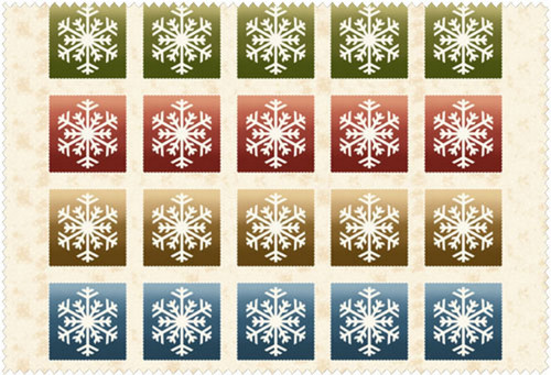 MULTI-COLORED BLOCKS WITH SNOW ON TAN/WHTE FLANNEL
