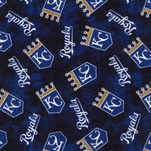 "KANSAS CITY ROYALS ROYAL BLUE LICENSED FLANNEL FABRIC - 42"" Wide - 60374-B"