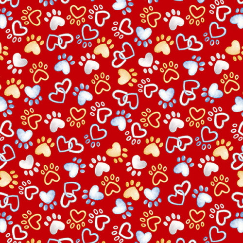 PAWFECT HEART PAWS ON RED FABRIC - 09727-10