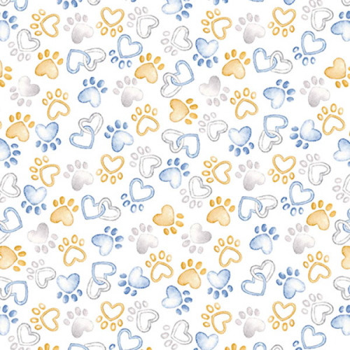 PAWFECT HEART PAWS ON WHITE FABRIC - 09727-09
