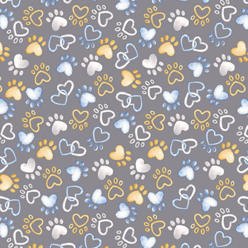 PAWFECT HEART PAWS ON GRAY FABRIC - 09727-11
