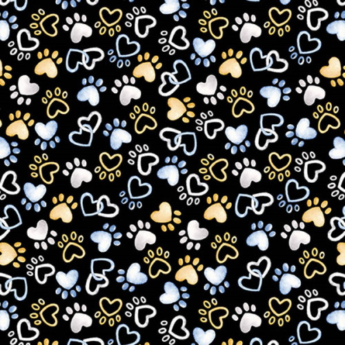 PAWFECT HEART PAWS ON BLACK FABRIC - 09727-12