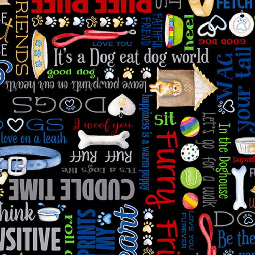 PAWFECT PAWSITIVE WORDS ON BLACK FABRIC - 09731-12
