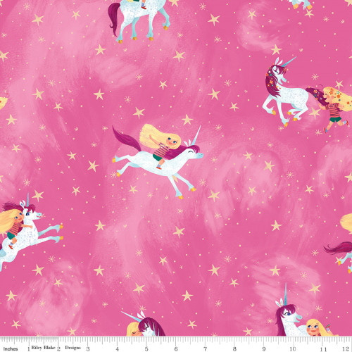 LITTLE GIRL WITH UNICORN ON PINK FABRIC - C9980-Pink