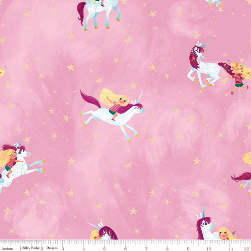 LITTLE GIRL WITH UNICORN ON LIGHT PINK FABRIC - C9980 Light Pink