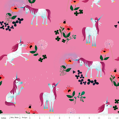 UNICORNS AND FLOWERS ON PINK FABRIC - C9981 Pink