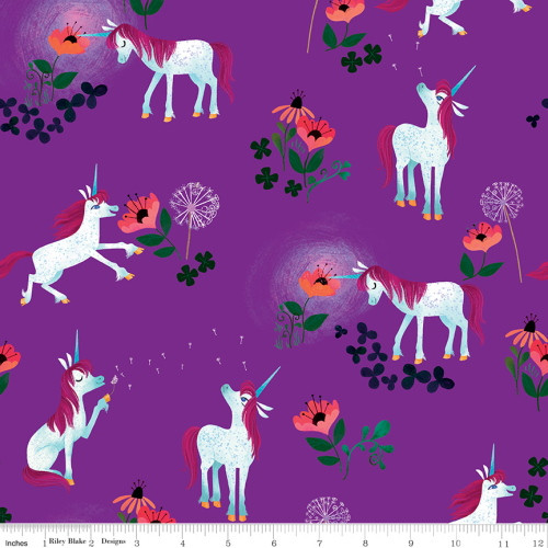 UNICORNS AND FLOWERS ON PURPLE FABRIC - C9981 Purple