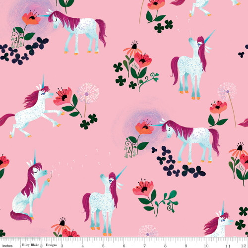 UNICORNS AND FLOWERS ON LIGHT PINK FABRIC - C9981 Light Pink