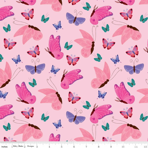MULTI-COLORED BUTTERFLIES ON LIGHT PINK FABRIC - C9982 Light Pink