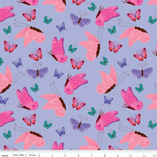 MULTI-COLORED BUTTERFLIES ON LIGHT PURPLE FABRIC - C9982 Light Purple