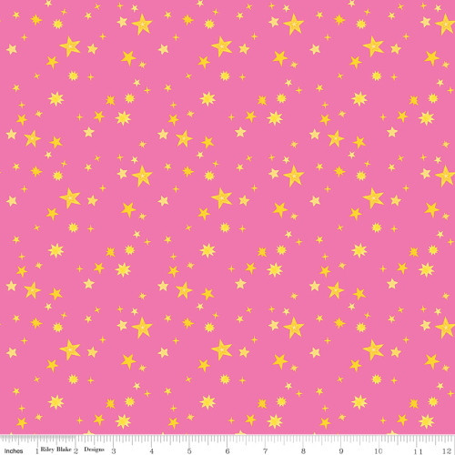 GOLD STARS ON PINK FABRIC - C9984 Pink