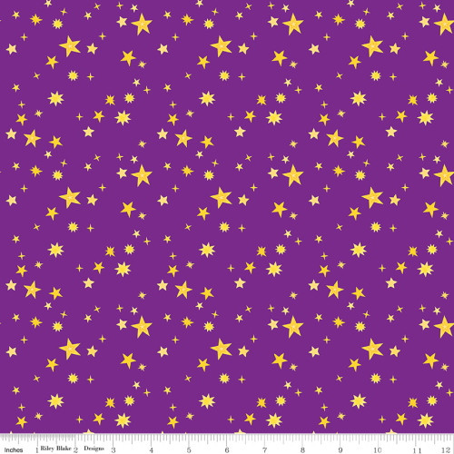 GOLD STARS ON PURPLE FABRIC - C9984 Purple