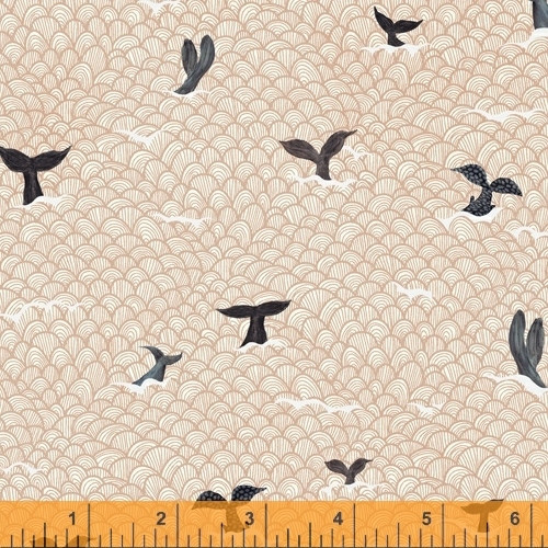 BLACK WHALE TALES ON SHELL PINK SCALLOP FABRIC - 52103-4 Shell