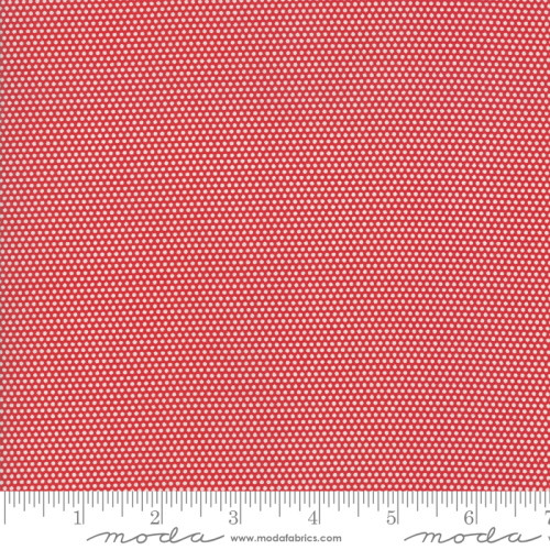 WHITE MINIATURE DOTS ON RED FABRIC - 21777-11