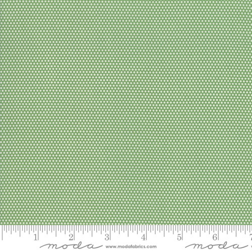 WHITE MINIATURE DOTS ON GREEN FABRIC - 21777-14