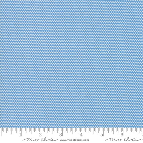 WHITE MINIATURE DOTS ON BLUE FABRIC - 21777-16