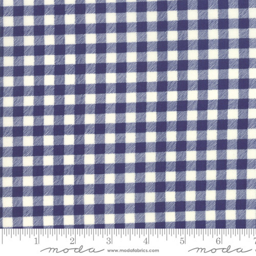 NAVY BLUE AND WHITE CHECKED FABRIC - 21778-15